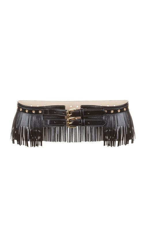 Fringe Faux-Leather Waist Belt