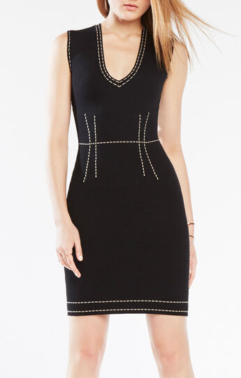 Walleska Pick-Stitch Knit-Jacquard Dress