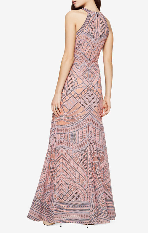 Felicia Geometric Burnout Print Gown