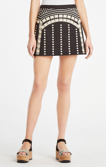 Lannia Geometric Embroidered Miniskirt