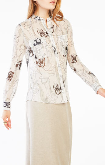 Anderson Tulip Print Button-Up Top