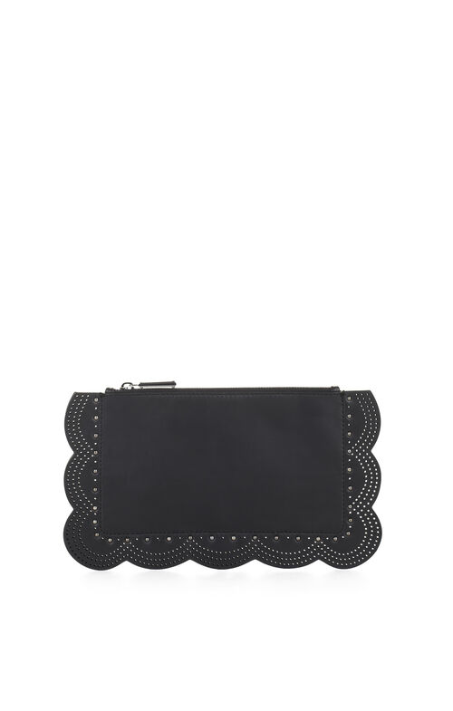 Teige Scallop-Perf Leather Clutch