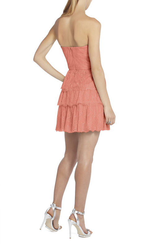 Lilah Tiered-Lace Strapless Dress