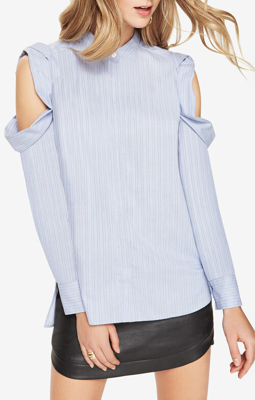 Nishani Cold-Shoulder Striped Shirt