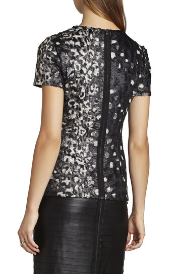 Tulum Short-Sleeve Coated Faux-Fur Top