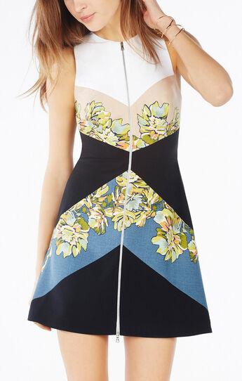 Alaina Floral Print-Blocked Dress