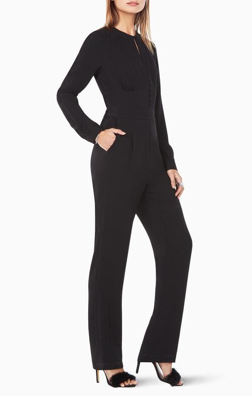 Schyler Long-Sleeve Button-Down Jumpsuit