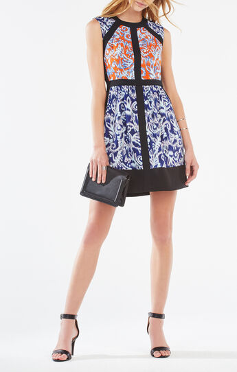Donatella Ikat Scroll Print-Blocked Dress