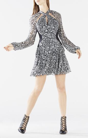 Kamiya Cutout Ocelot Print Dress