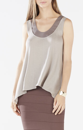 Tenley Faux-Leather Trim Cutout Jersey Top