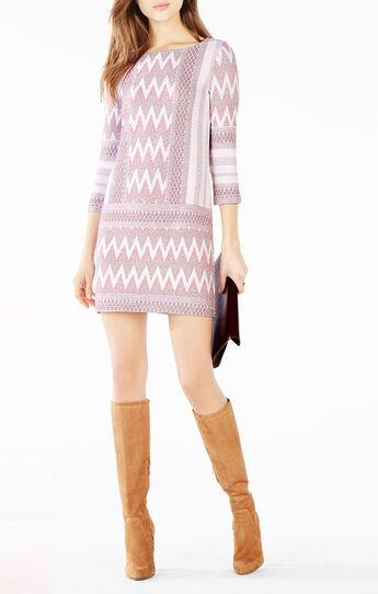 Beth Zigzag Knit Jacquard Dress