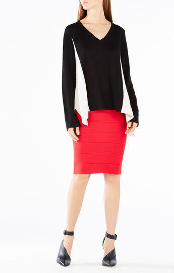 Marianne Color-Blocked High-Low Wool Sweater