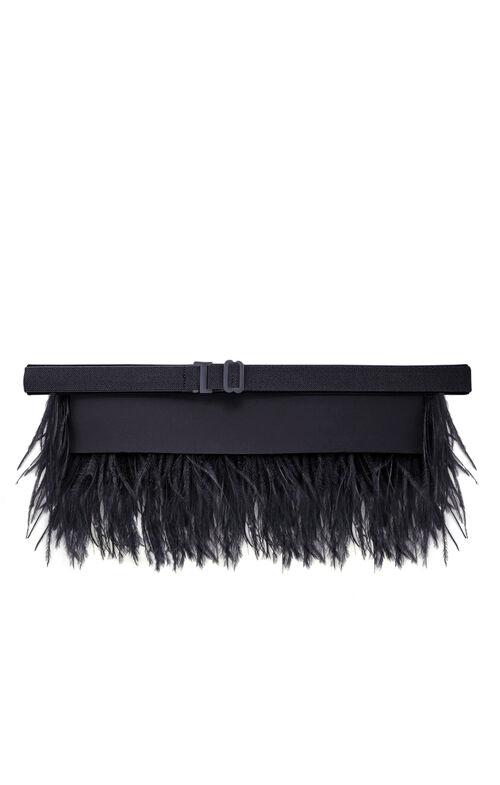 Stone Column Ostrich Feather Belt