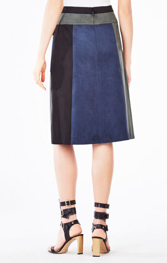 Nicki Color-Blocked Faux-Suede Skirt