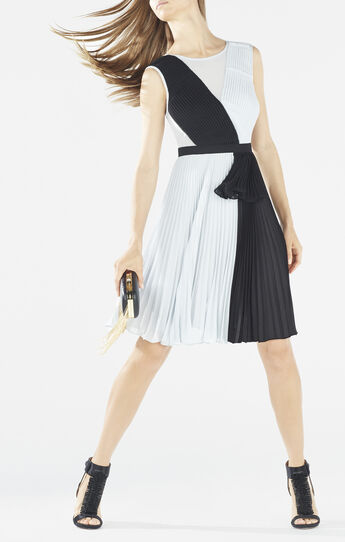Bailie Pleated Color-Blocked Dress