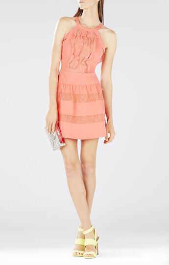 Katrine Halter Lace-Blocked Dress