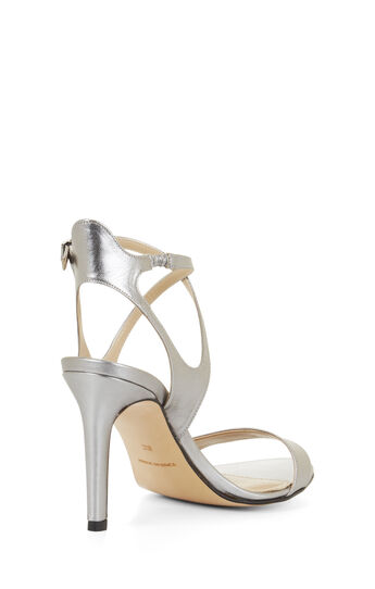 High-Heel Crisscross Metallic Sandal