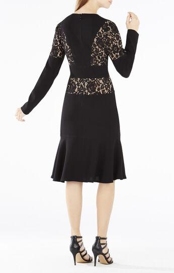 Krizia Lace-Blocked Flounce Hem Dress