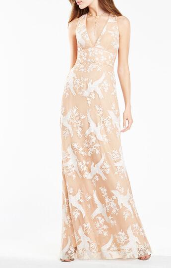 Cecilia Dove Embroidered Gown