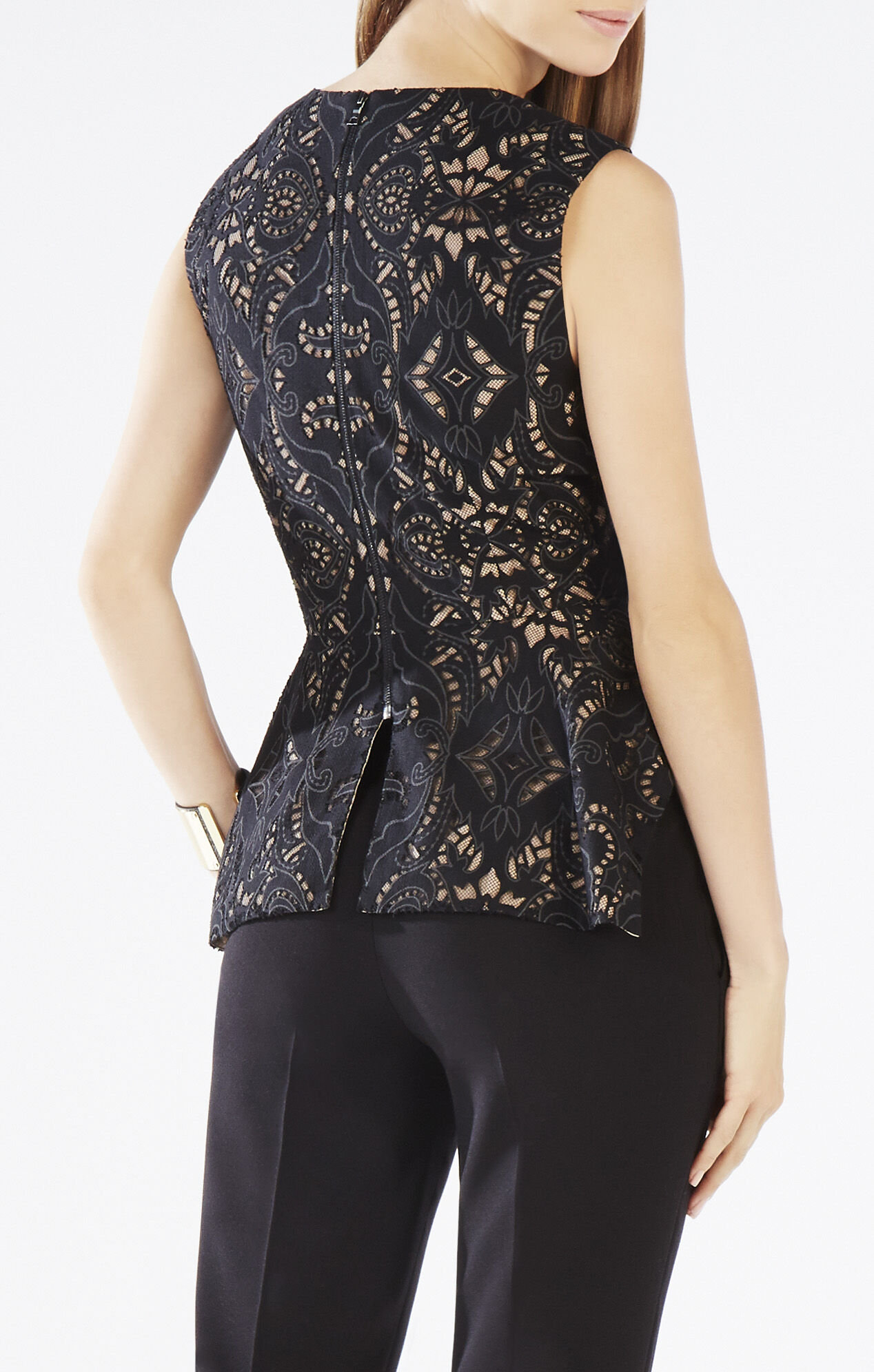 Lace Peplum Top - This peplum top is in a stripey lace and is pretty sheer. It also has 3/4 flounce sleeves, so it's great for showing off bracelets and blingy watches, plus it has an exposed back zip closure. Refined with slim midi skirts and drop earrings, cute with skinny jeans and bangles/5(10).