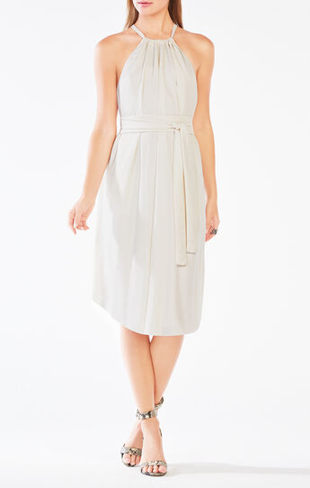 Britan Halter-Neck Satin Dress