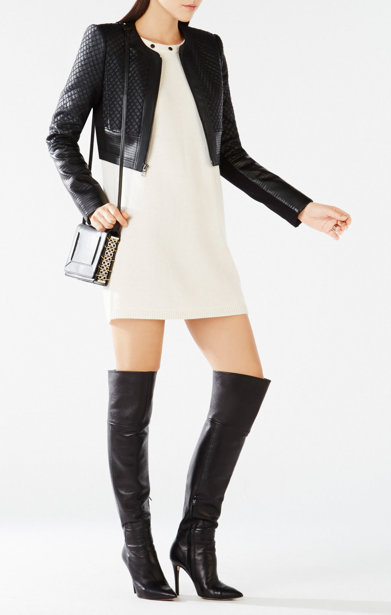Cohen Cropped Quilted Faux Leather Jacket