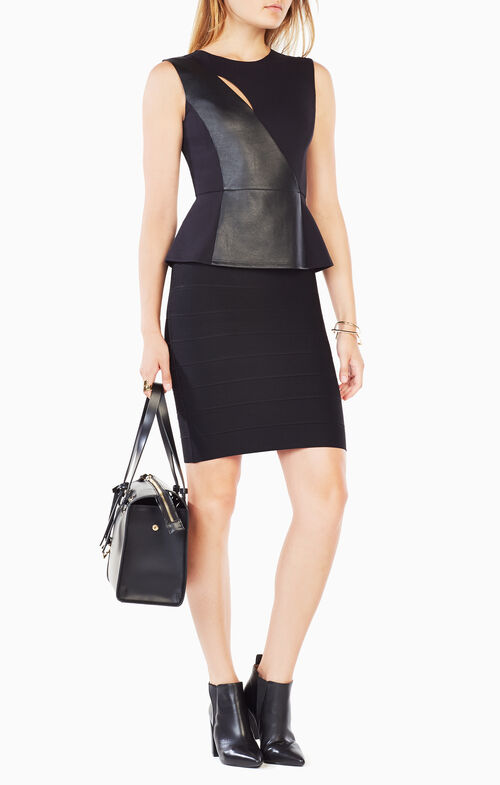 Brita Faux-Leather Blocked Top