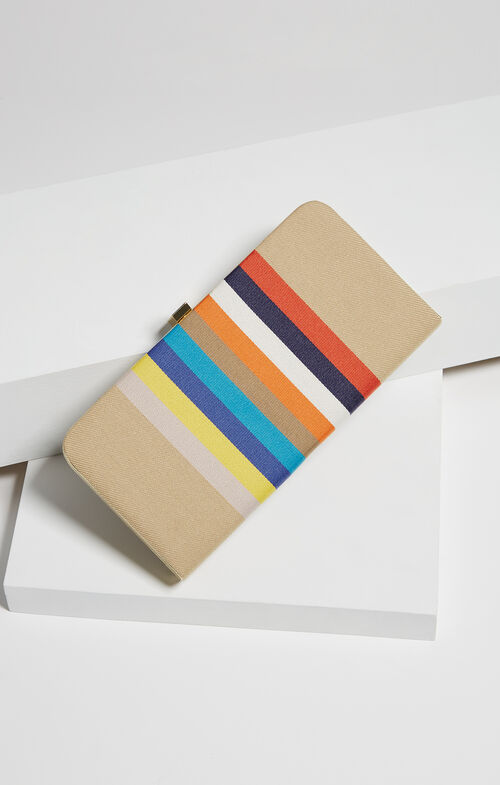 Viona Striped Canvas Clutch