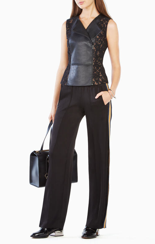 Becky Faux-Leather Peplum Top