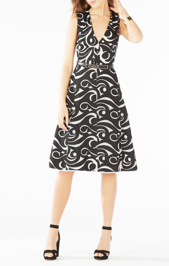 Abilene Swirl Embroidered Mesh Dress