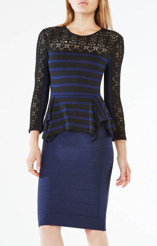 Rosemary Striped Lace Top