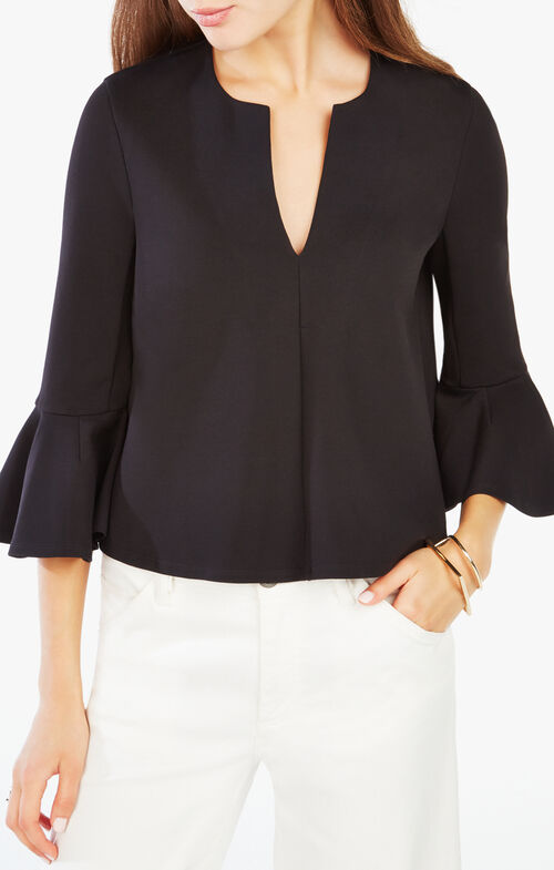 Valari Ruffled Ponte Top