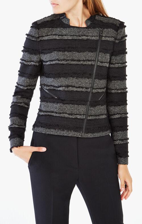 Jaison Striped Fringe Jacket