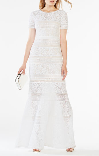 Ivetta Lace-Paneled Gown