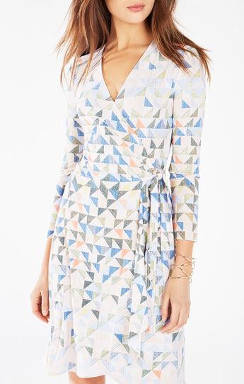 Adele Triangle Print Wrap Dress