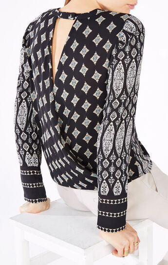 Donella Tapestry Print Wrap Top
