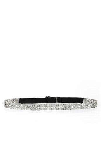 Stone and Chain Elastic-Back Waist Belt