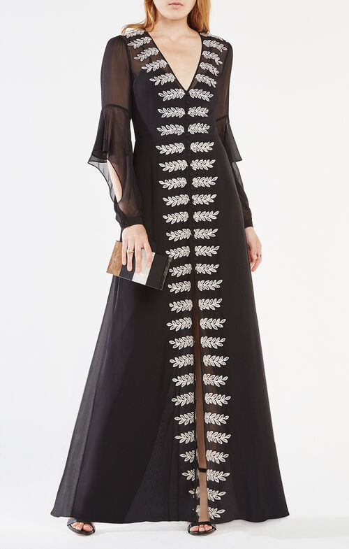 Beverle Embroidered Silk Gown