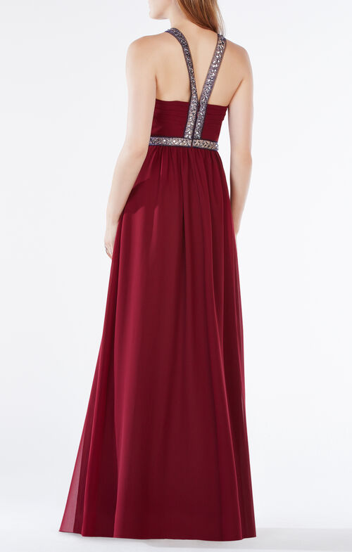 Celestine Beaded Halter Gown