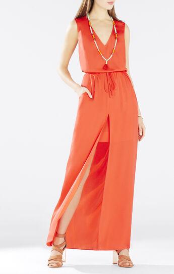 Taren Slit-Front Drawstring Dress