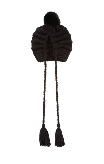 Cable-Knit Tassel-Detail Slouch Hat