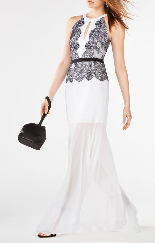 Georgianna Halter Lace-Trim Gown