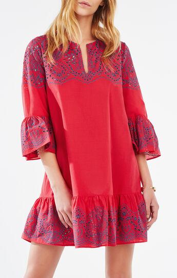 Keera Embroidered Eyelet Peasant Dress