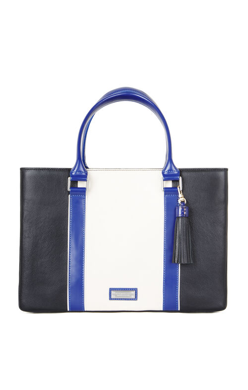 Imani Color-Blocked Leather Satchel