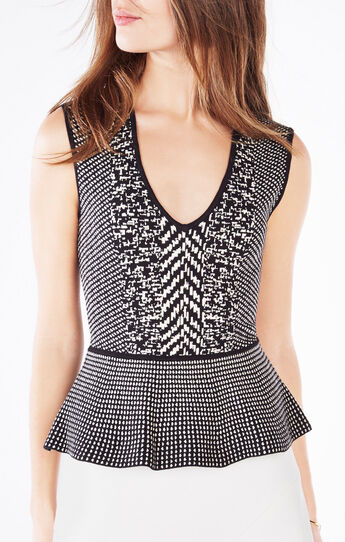 Alonya Twill Knit Jacquard Peplum Top