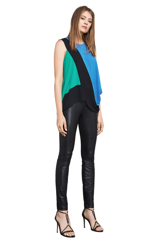 Jaydin Draped-Side Color-Blocked Top