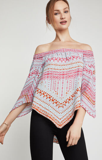 Octavia Off-The-Shoulder Geometric Print Top