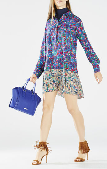Bradyn Floral Print-Blocked Shirt Dress