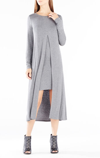 Ayana Layered Front Slit Midi Dress