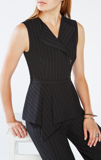 Carlynn Pinstriped Peplum Top